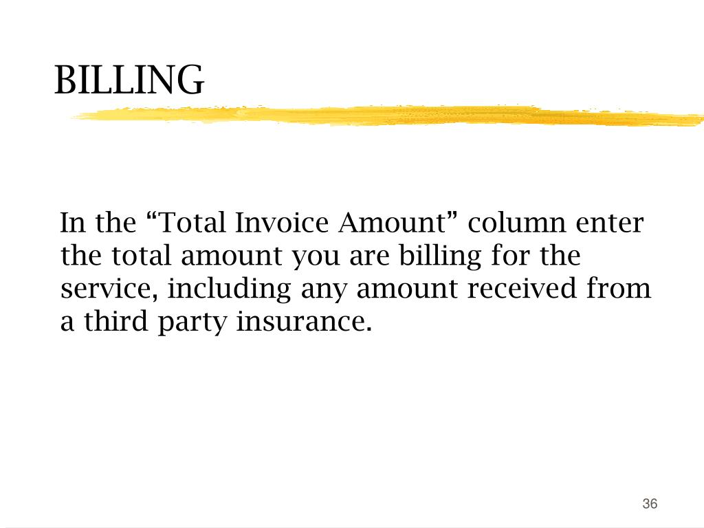 "In the ""Total Invoice Amount"" column enter the total amount you are billing for the service, including any amount received from a third party insurance."