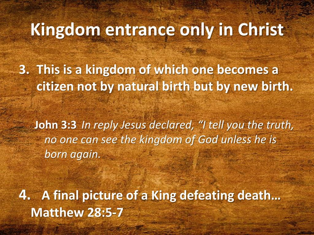 Kingdom entrance only in Christ
