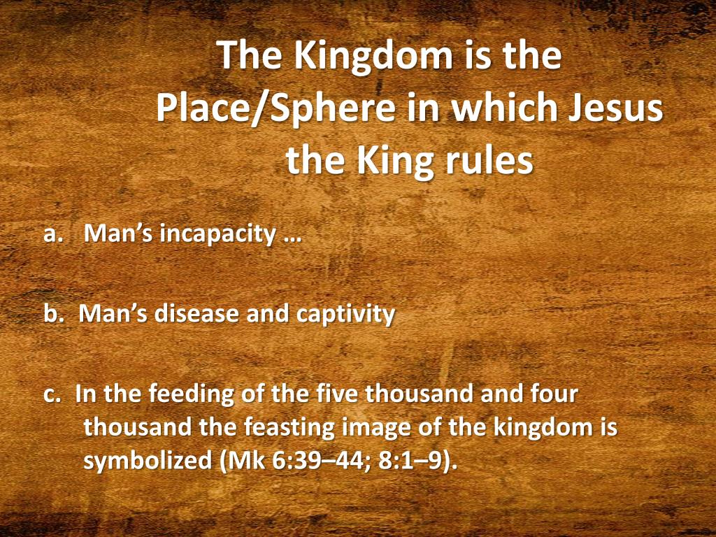 The Kingdom is the Place/Sphere in which Jesus the King rules