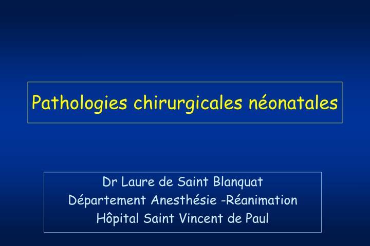 Pathologies chirurgicales néonatales