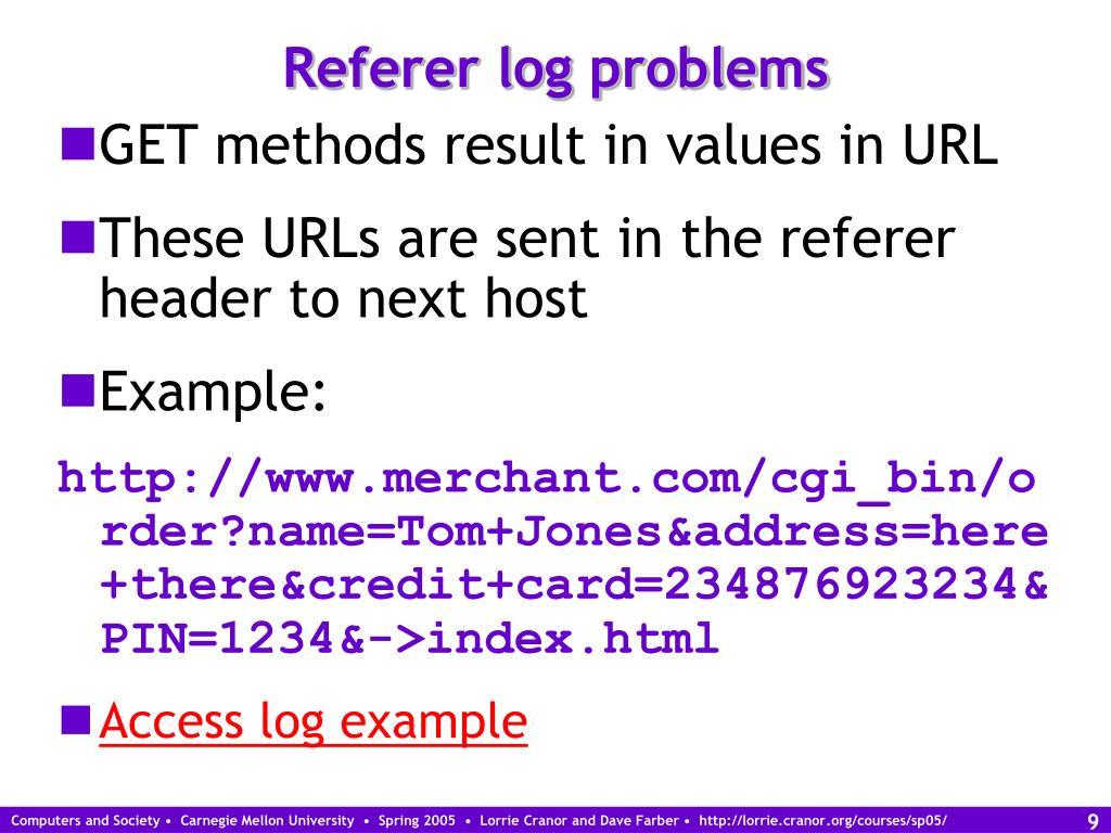 Referer log problems