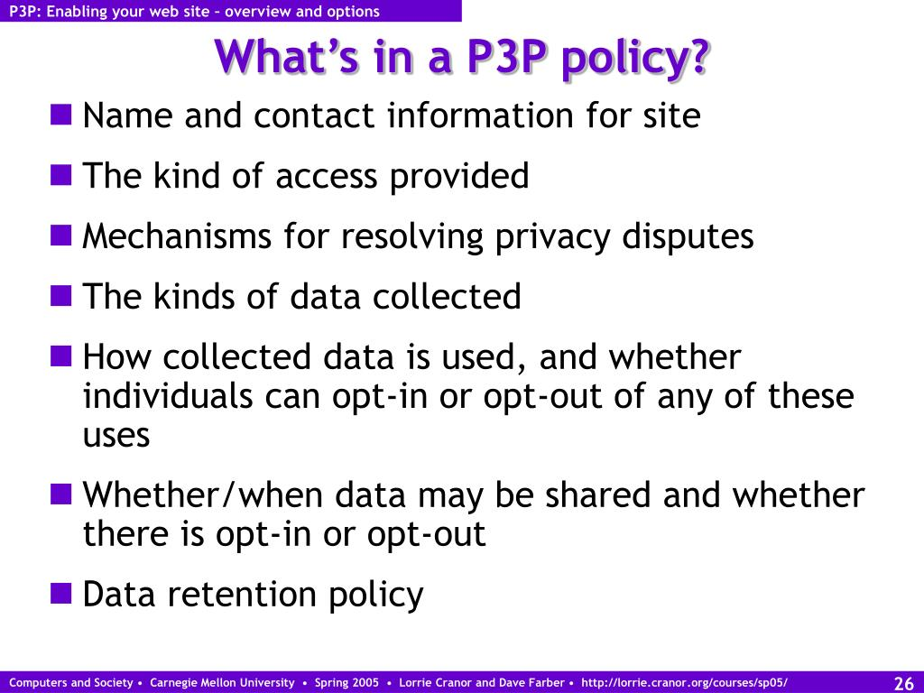 P3P: Enabling your web site – overview and options