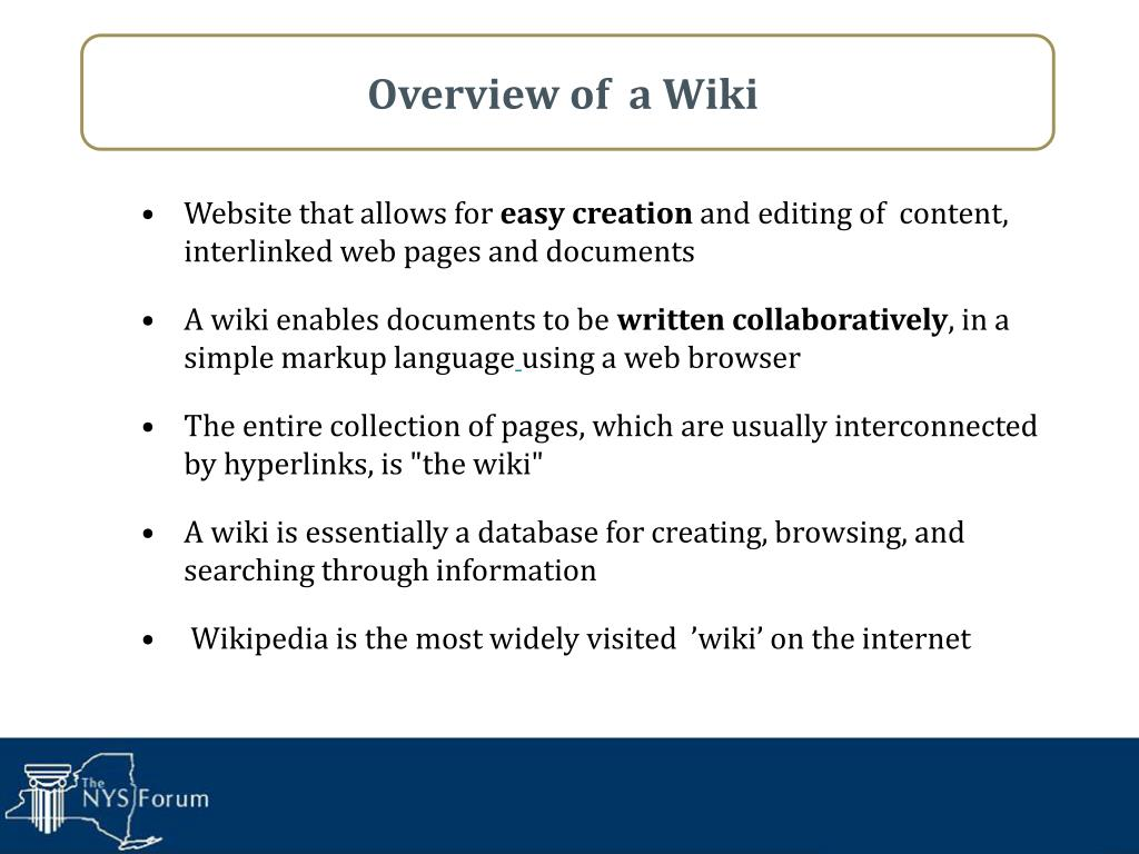 Overview of  a Wiki