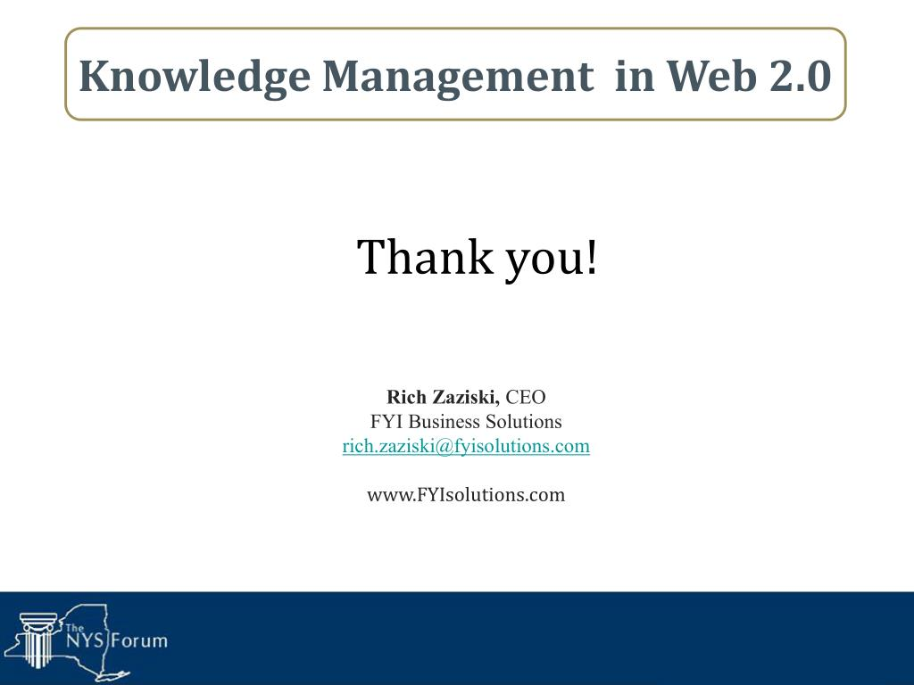 Knowledge Management  in Web 2.0
