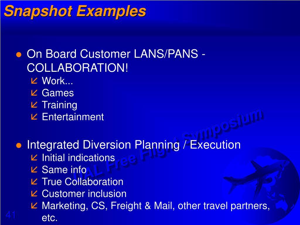 Snapshot Examples