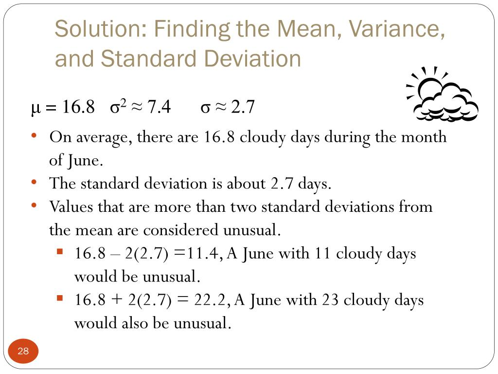 Solution: Finding the Mean, Variance, and Standard Deviation