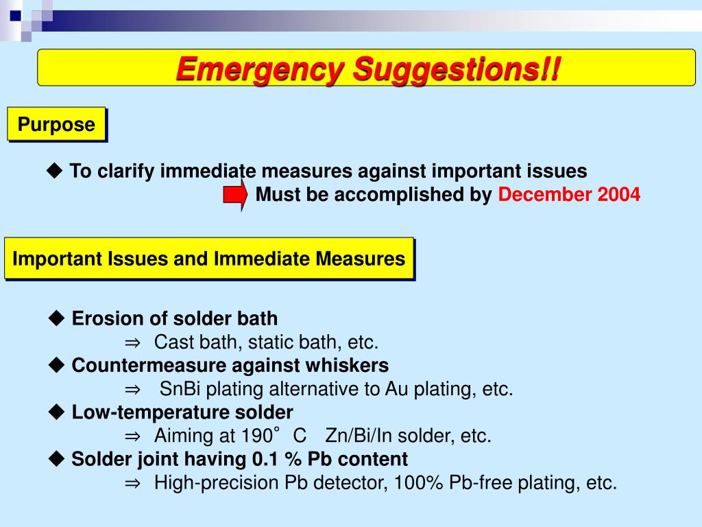 Emergency Suggestions!!