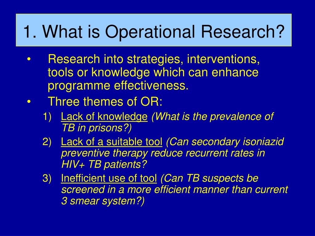 1. What is Operational Research?