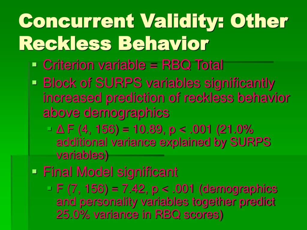 Concurrent Validity: Other Reckless Behavior