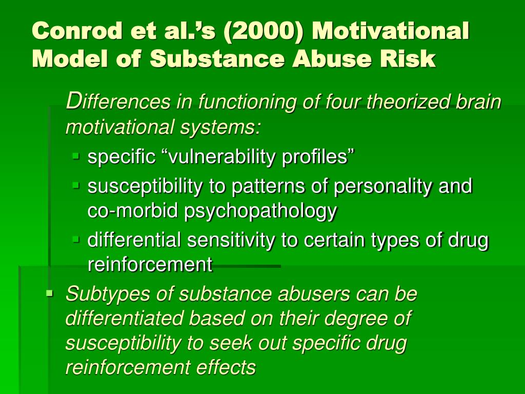 Conrod et al.'s (2000) Motivational Model of Substance Abuse Risk