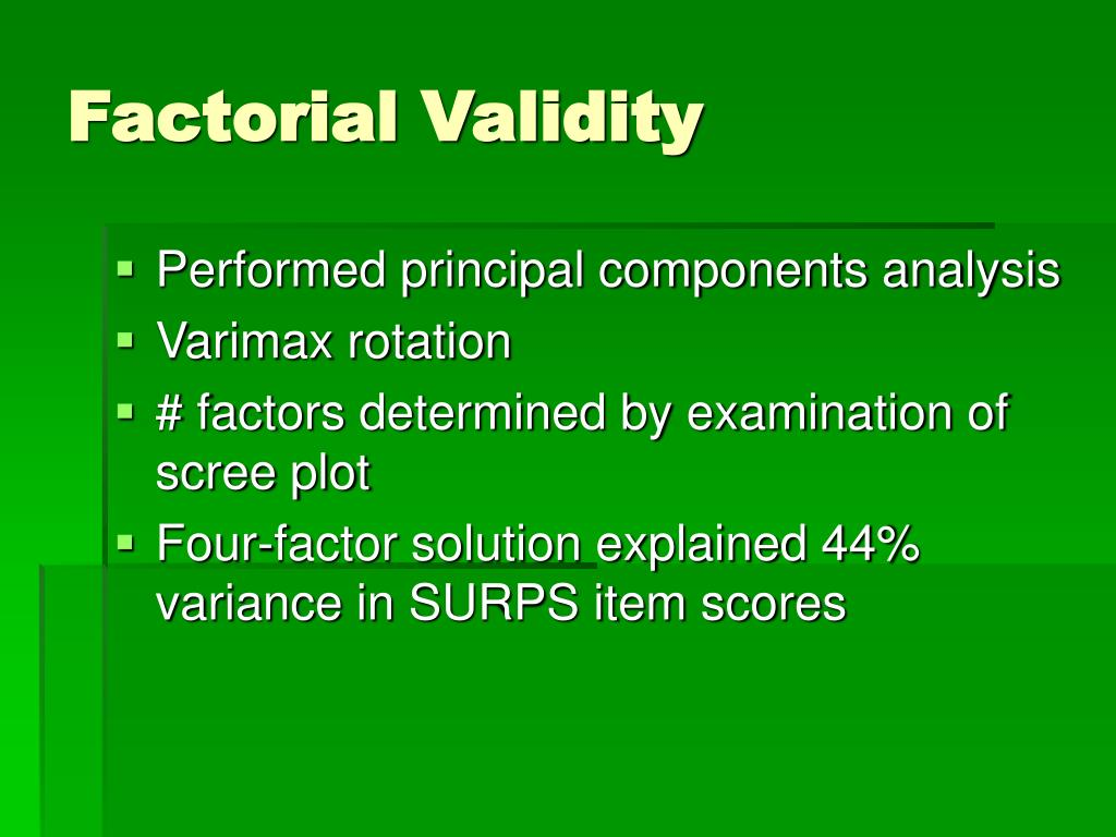 Factorial Validity