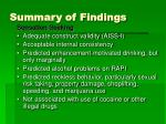 summary of findings50