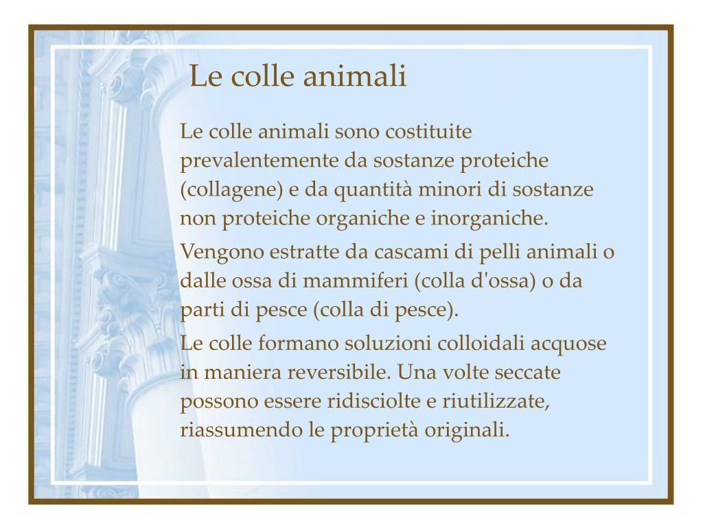 Le colle animali sono costituite prevalentemente da sostanze proteiche (collagene) e da quantità minori di sostanze non proteiche organiche e inorganiche.