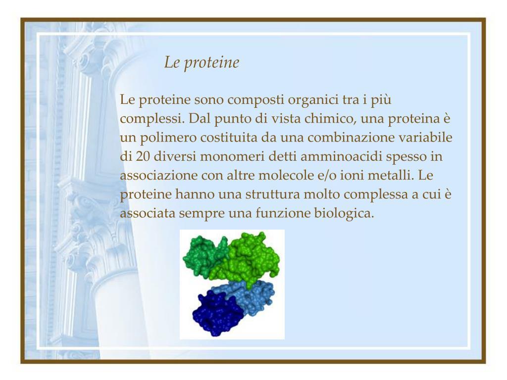 Le proteine sono composti organici tra i più complessi. Dal punto di vista chimico, una proteina è un polimero costituita da una combinazione variabile di 20 diversi monomeri detti amminoacidi spesso in associazione con altre molecole e/o ioni metalli. Le proteine hanno una struttura molto complessa a cui è associata sempre una funzione biologica.