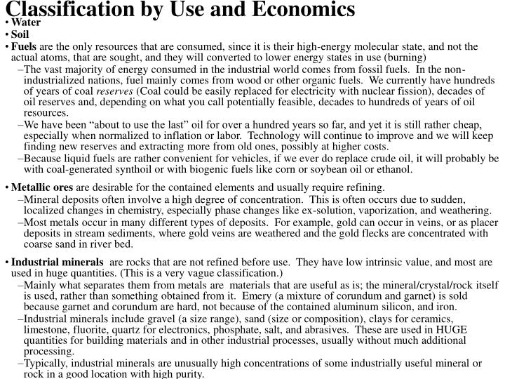 Classification by Use and Economics