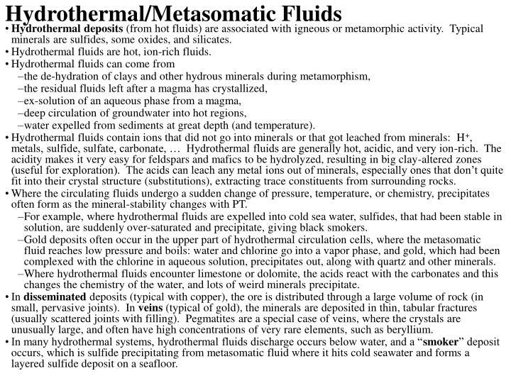 Hydrothermal/Metasomatic Fluids