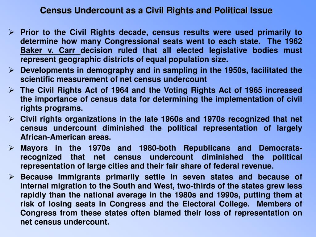 Census Undercount as a Civil Rights and Political Issue
