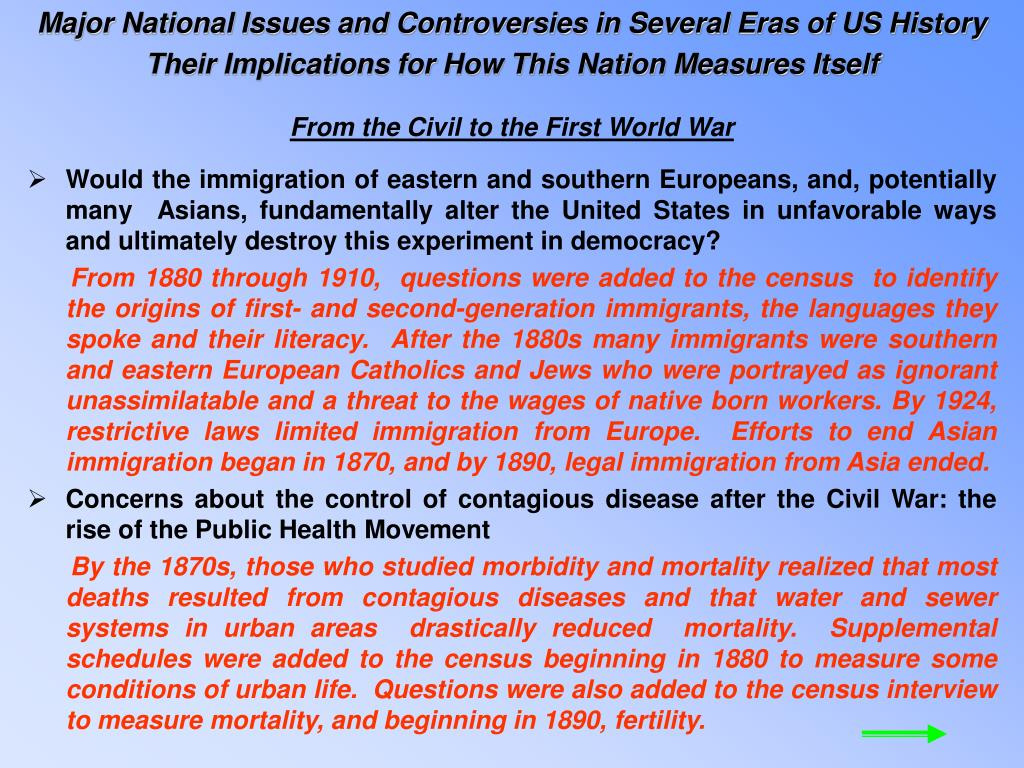 Major National Issues and Controversies in Several Eras of US History