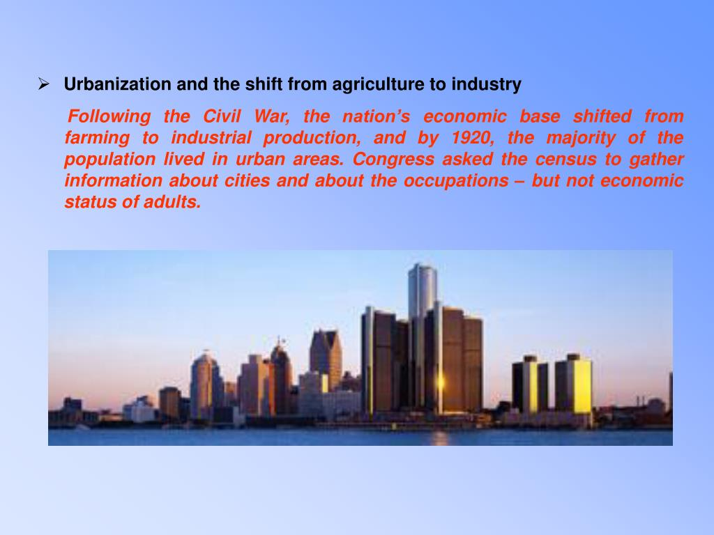 Urbanization and the shift from agriculture to industry