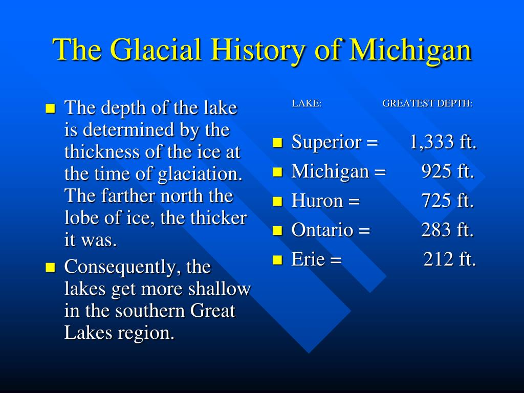 The depth of the lake is determined by the thickness of the ice at the time of glaciation.  The farther north the lobe of ice, the thicker it was.