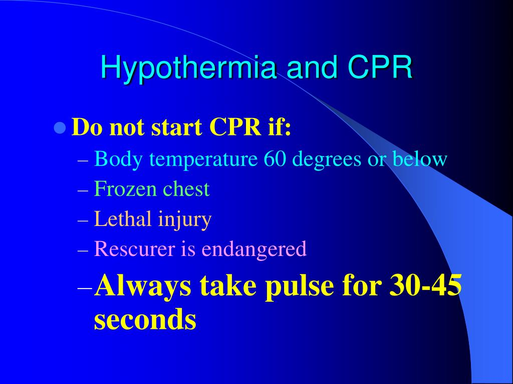 Hypothermia and CPR