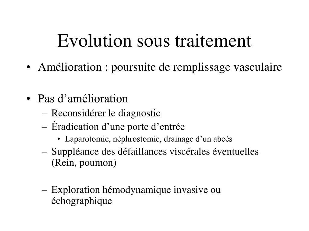 Evolution sous traitement
