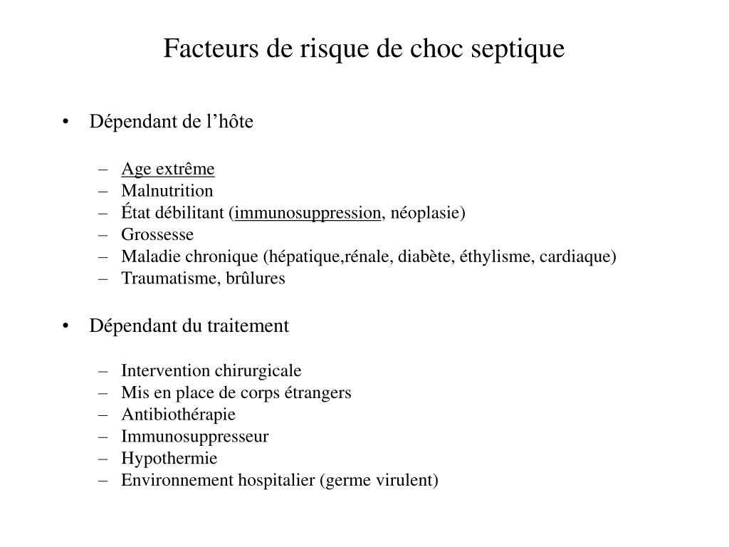 Facteurs de risque de choc septique