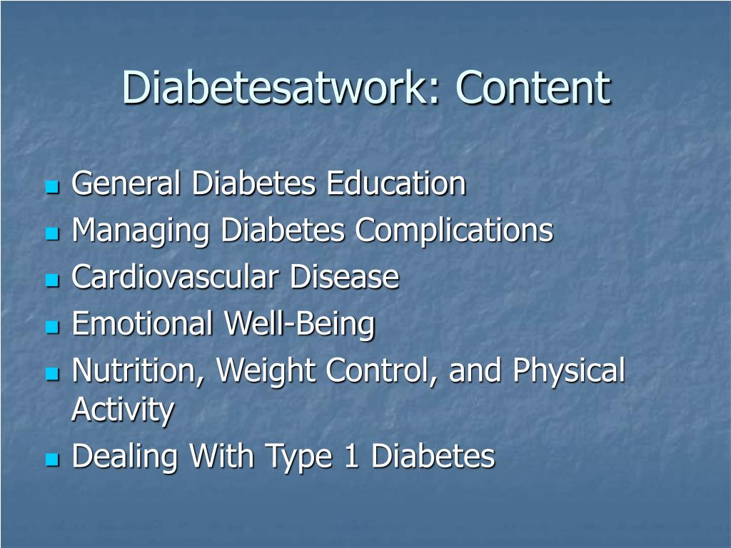Diabetesatwork: Content