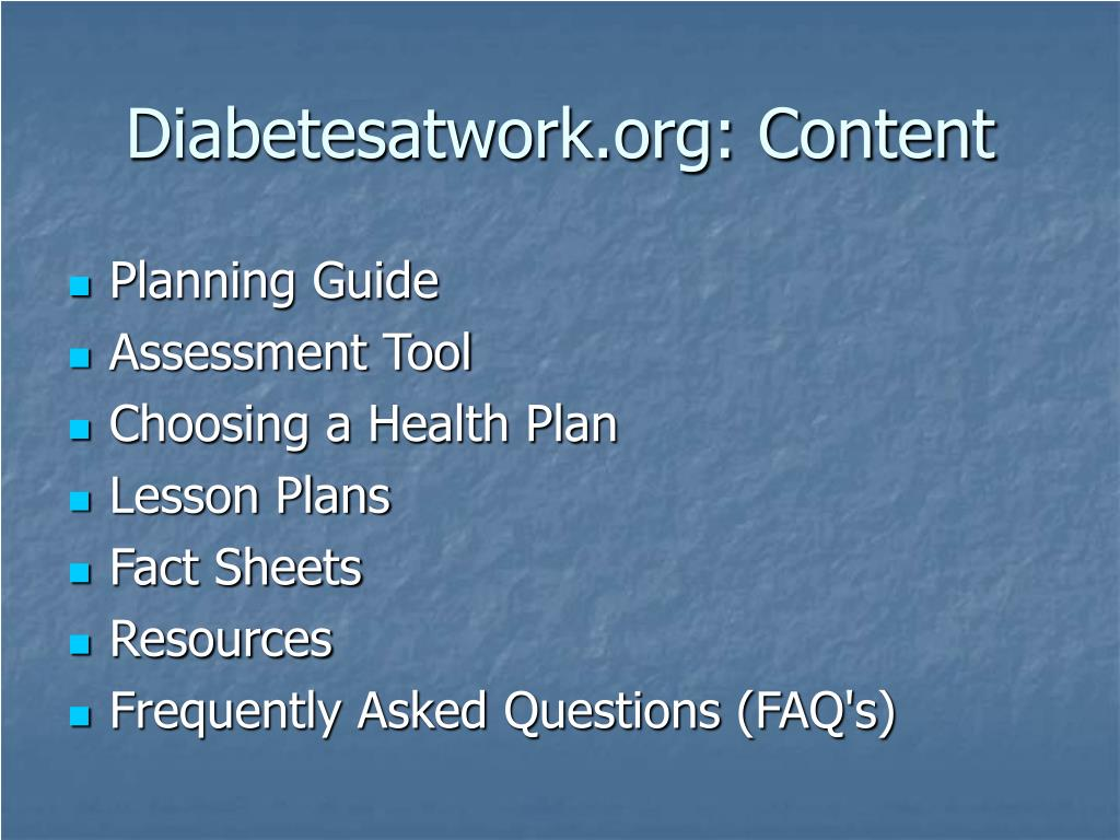 Diabetesatwork.org: Content