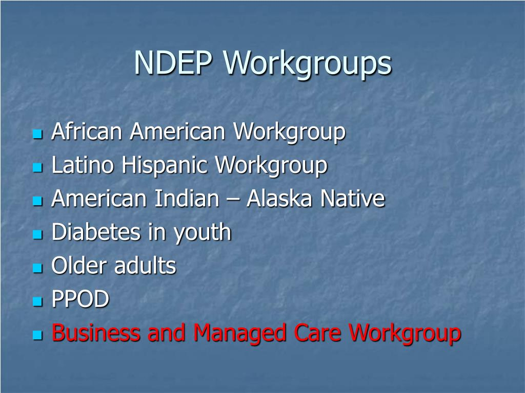 NDEP Workgroups