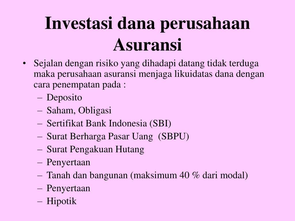 Investasi dana perusahaan Asuransi