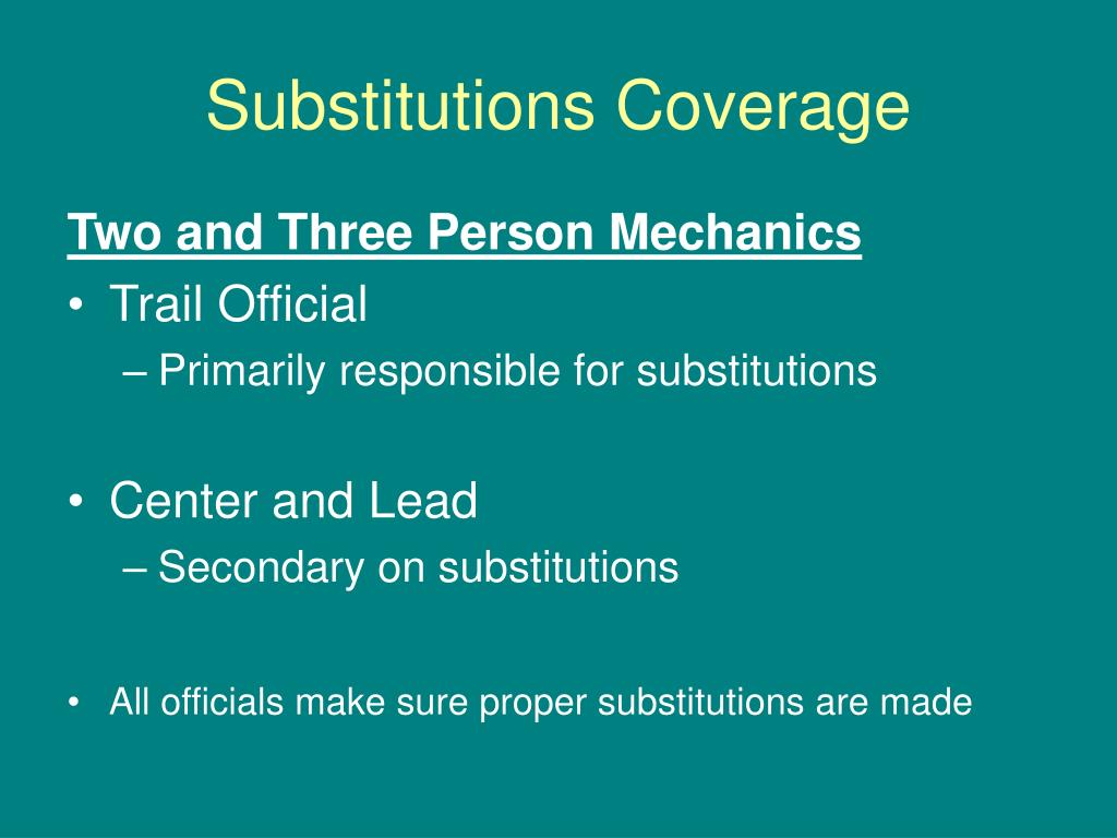 Substitutions Coverage