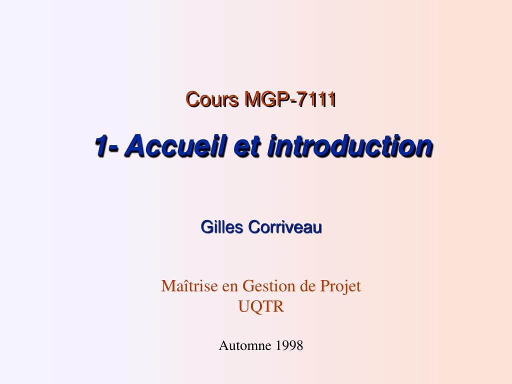 Cours MGP-7111