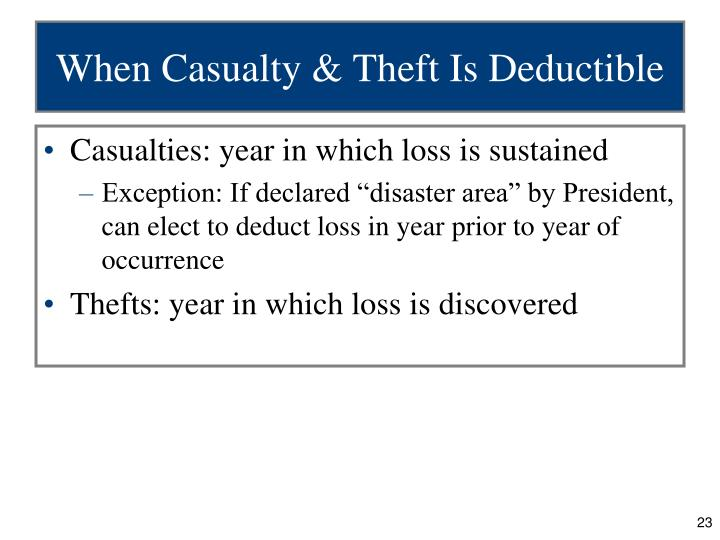 personal casualty and theft loss