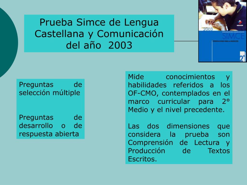 Prueba Simce de Lengua Castellana y Comunicacin del ao  2003