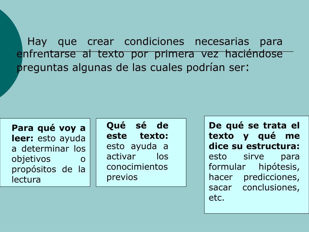 Hay que crear condiciones necesarias para enfrentarse al texto por primera vez hacindose preguntas algunas de las cuales podran ser