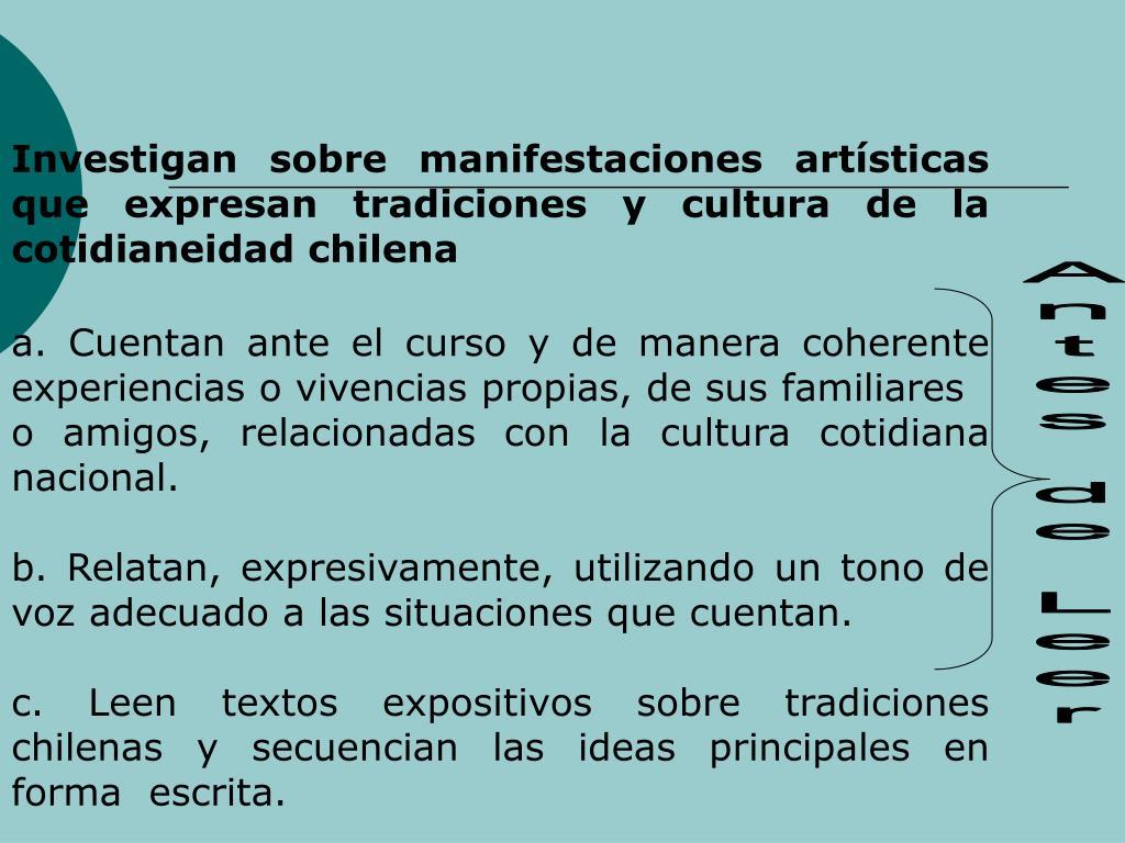 Investigan sobre manifestaciones artsticas que expresan tradiciones y cultura de la cotidianeidad chilena