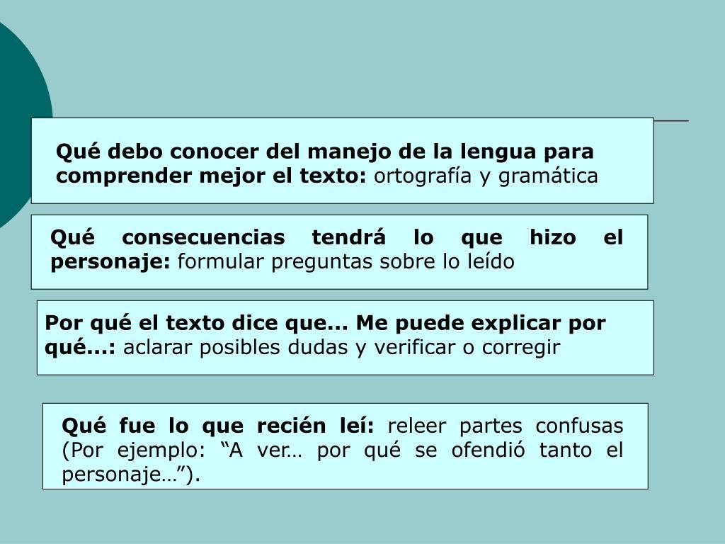 Qu debo conocer del manejo de la lengua para comprender mejor el texto:
