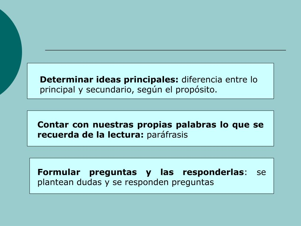 Determinar ideas principales: