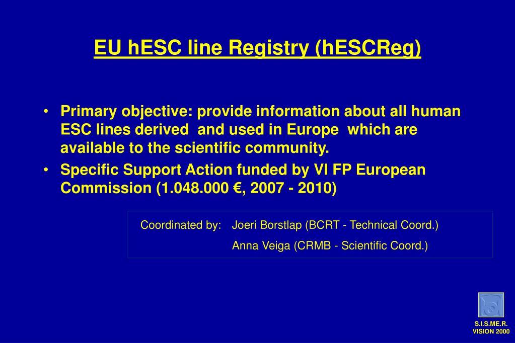 EU hESC line Registry (hESCReg)