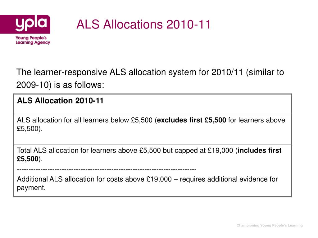 ALS Allocations 2010-11