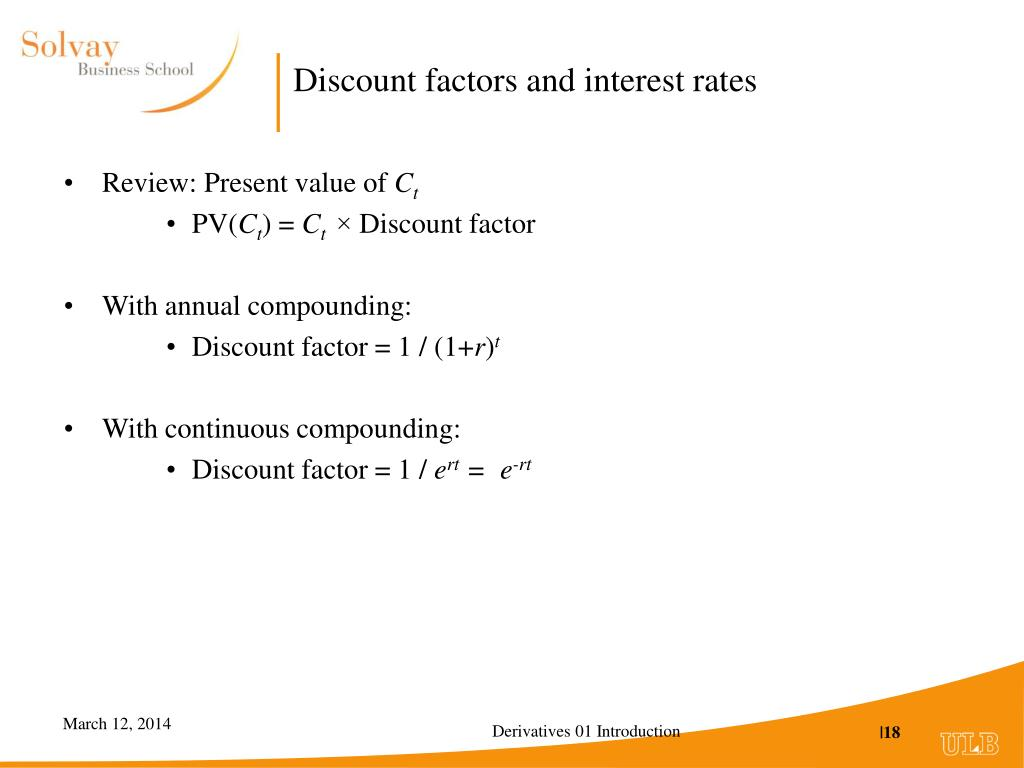 Discount factors and interest rates