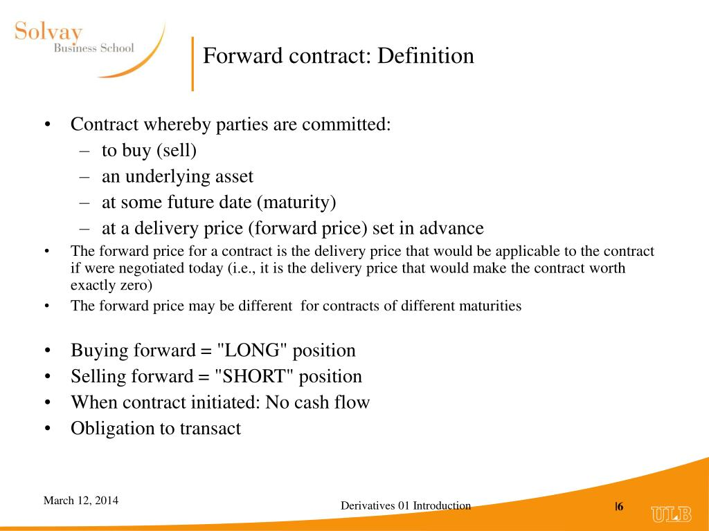 Forward contract: Definition