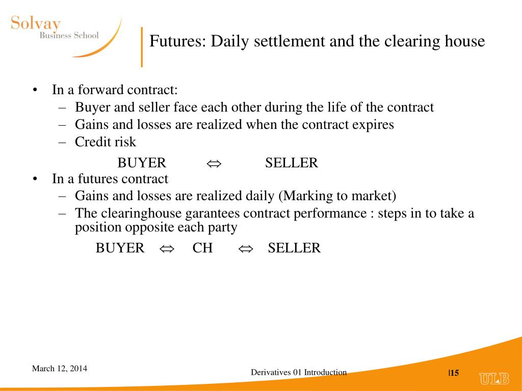 Futures: Daily settlement and the clearing house