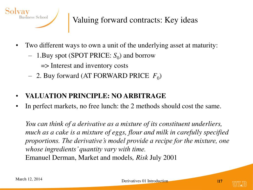 Valuing forward contracts
