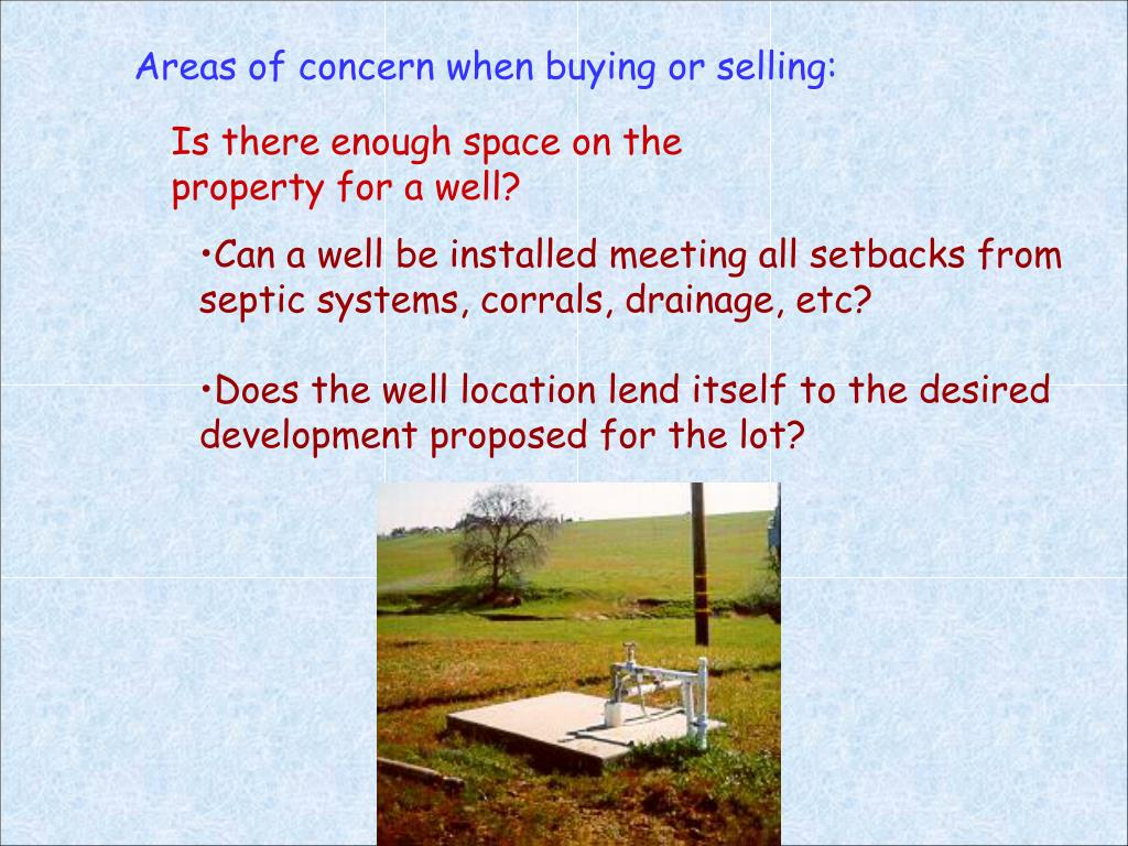 Areas of concern when buying or selling:
