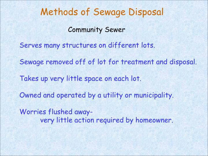 Methods of Sewage Disposal