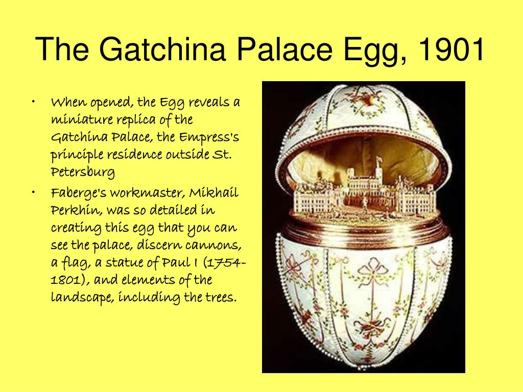 When opened, the Egg reveals a miniature replica of the Gatchina Palace, the Empress's principle residence outside St. Petersburg