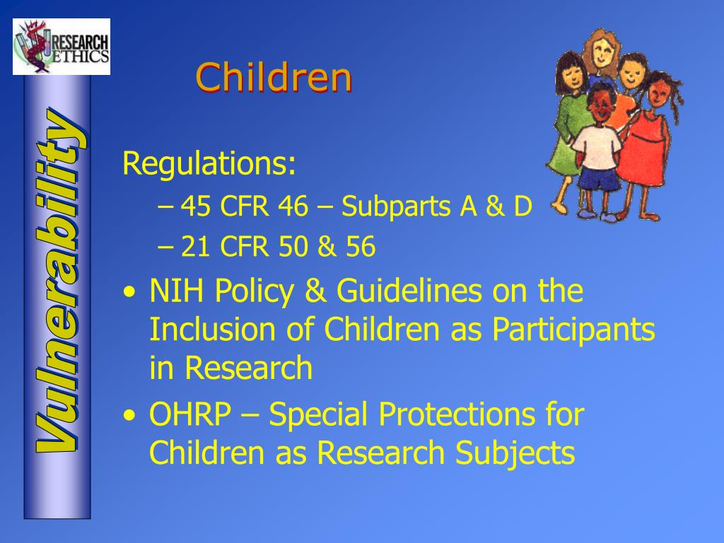 special protection provisions for children participating in research