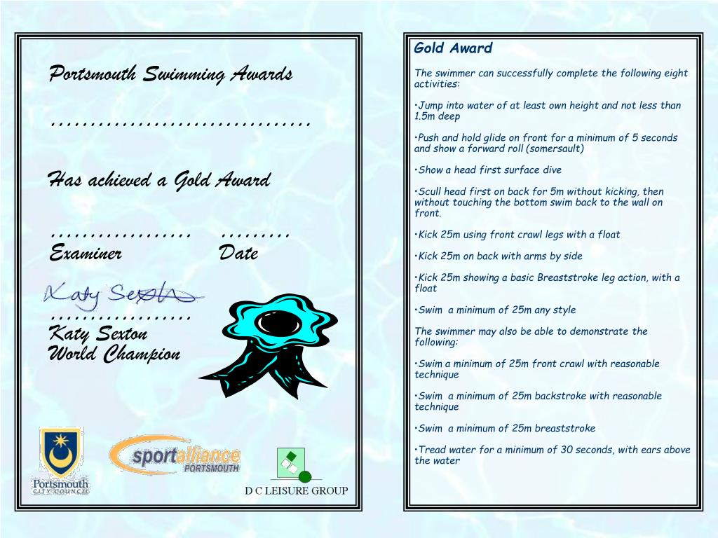 Portsmouth Swimming Awards